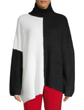 Two Tone Oversized Turtleneck Sweater by Avantlook