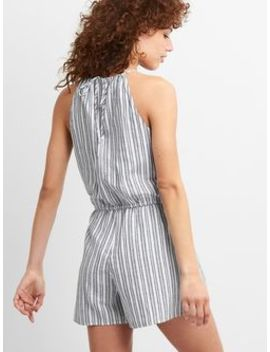 Stripe Halter Romper In Linen Cotton by Gap