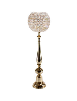 Globe Crystal Candlehldr Gld37 by At Home