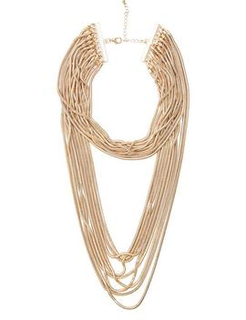 Gold Tone Crystal Collar Link Necklace by Guess