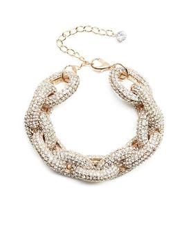 Pave And Gold Tone Chain Link Necklace by Guess