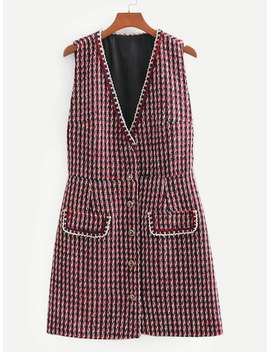 Button Front Tweed Dress by Sheinside