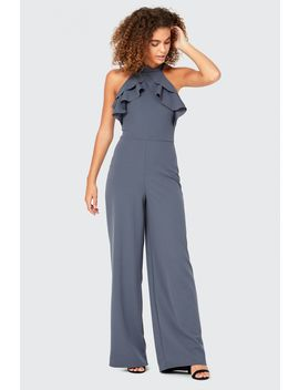 Frill Halter Neck Wide Leg Jumpsuit by Select
