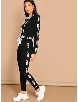 Letter Print Crop Tee & Pants Set by Shein