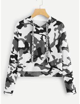 Letter Tape Camo Print Hooded Sweatshirt by Sheinside