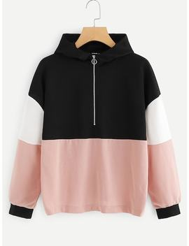 Cut And Sew Color Block Hoodie by Shein