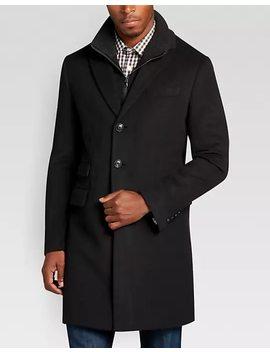 Egara Black Herringbone Modern Fit Car Coat by Mens Wearhouse
