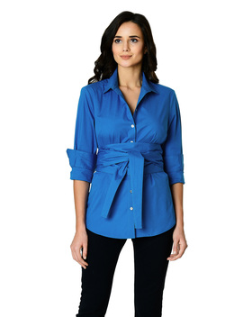 obi-belt-cotton-poplin-shirt by eshakti