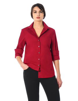 Cotton Poplin Slim Fit Button Up Shirt by Eshakti