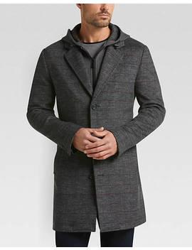 Egara Gray Plaid Modern Fit Bib Topcoat by Mens Wearhouse