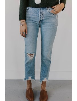 Free People Chewed Up Mid Rise Straight Leg Jeans by Roolee