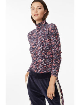 La Vie Toile Fleur Turtleneck Jersey Top by Rebecca Taylor