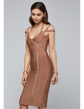 3 Strap Bandage Midi Dress by Bebe