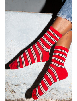Red White And Black Striped Socks by Brandy Melville