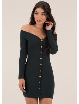 Hot As A Button Off Shoulder Minidress by Go Jane