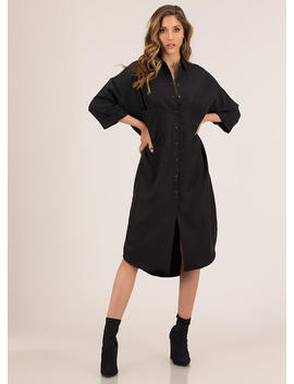Cool And Casual Snap Button Shirt Dress by Go Jane