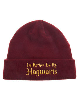 Harry Potter™ I'd Rather Be At Hogwarts Beanie Hat   Red by Claire's