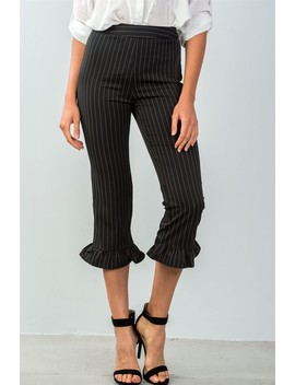 Ladies Fashion All Over Pin Stripes Ruffle Hem High Waist Culottes Pants by 599 Fashion