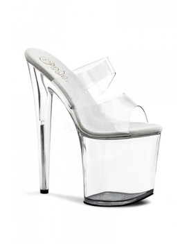 Clear Strappy Slip On Platform High Heels by Ami Clubwear
