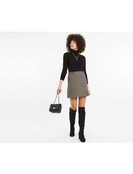 Button Jacquard Skirt by Oasis