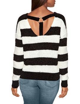 Chenille Ring Detail Stripe Sweater by Boston Proper