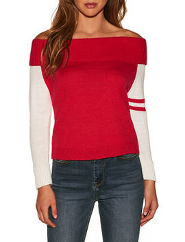 Track Stripe Sleeve Off The Shoulder Sweater by Boston Proper