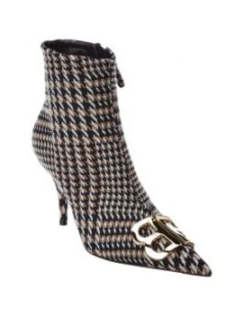 Balenciaga Bb Houndstooth Wool Boot by Balenciaga