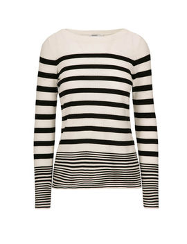 Striped Boat Neck Pullover Sweater by Ricki's