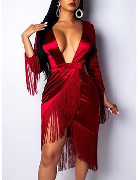 Plunge Tassel Irregular Hem Party Dress by Ivrose
