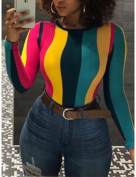 Colorful Stripes Long Sleeve T Shirt by Ivrose