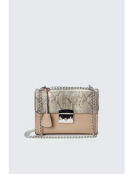 Brown Snake Print Lock Chain Bag by Select