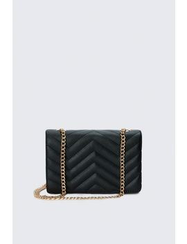 Black Zig Zag Quilt Chain Bag by Select