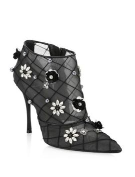 Floral Point Toe Booties by Roger Vivier
