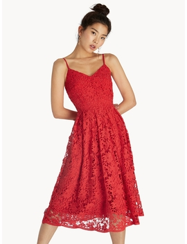 Midi Lace Cami Dress   Red by Pomelo