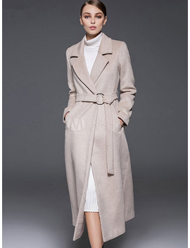 Ecru White Coat Notch Collar Long Sleeve Women's Winter Wool Coats by Milanoo