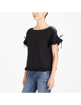Lace Up Cotton Top by J.Crew