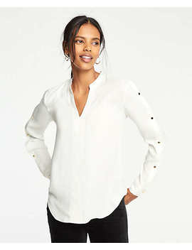 Button Sleeve V Neck Blouse by Ann Taylor