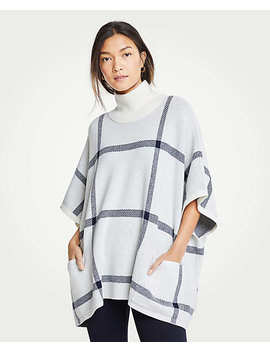 Petite Plaid Poncho Sweater by Ann Taylor