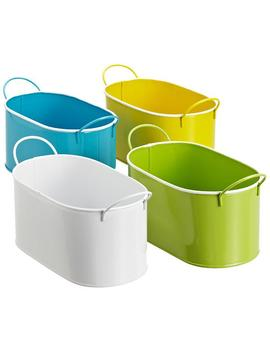 Oval Enameled Metal Bin by Container Store