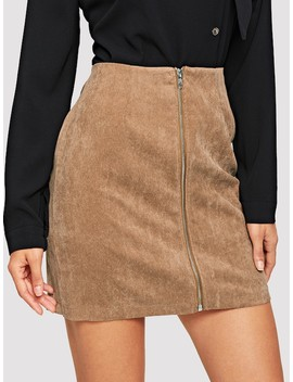 Exposed Zip Up Corduroy Skirt by Shein
