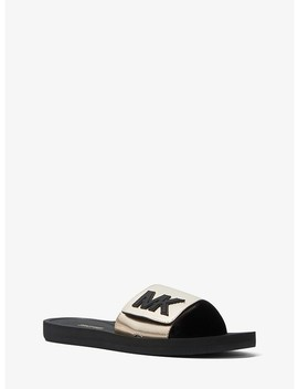 Mk Logo Metallic Slide by Michael Michael Kors