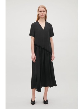 Layered V Neck Chiffon Dress   Black(Out Of Stock) by Cos