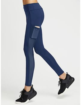 Contrast Mesh Solid Leggings by Sheinside