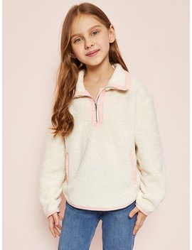 Girls Zip Half Placket Teddy Jacket by Shein