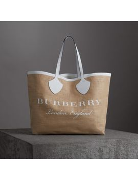 The Giant Tote In Logo Print Jute by Burberry