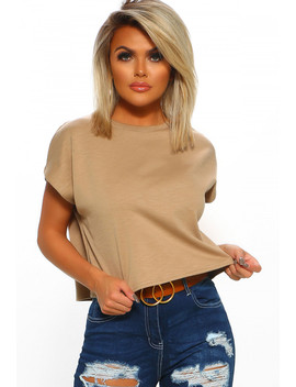 Slay & Sass Taupe Crop Top by Pink Boutique