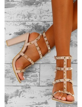 Rock Steady Nude Studded Cage Block Heels by Pink Boutique