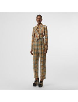 Vintage Check Wool High Waisted Trousers by Burberry