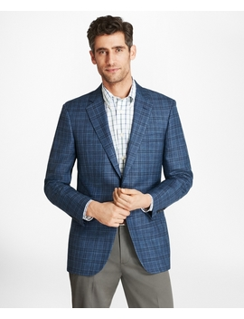 Madison Fit Saxxon™ Wool Plaid Sport Coat by Brooks Brothers