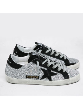 Golden Goose Deluxe Brand Women's Superstar Leather Trainers   Silver Glitter/Black Star by Golden Goose Deluxe Brand
